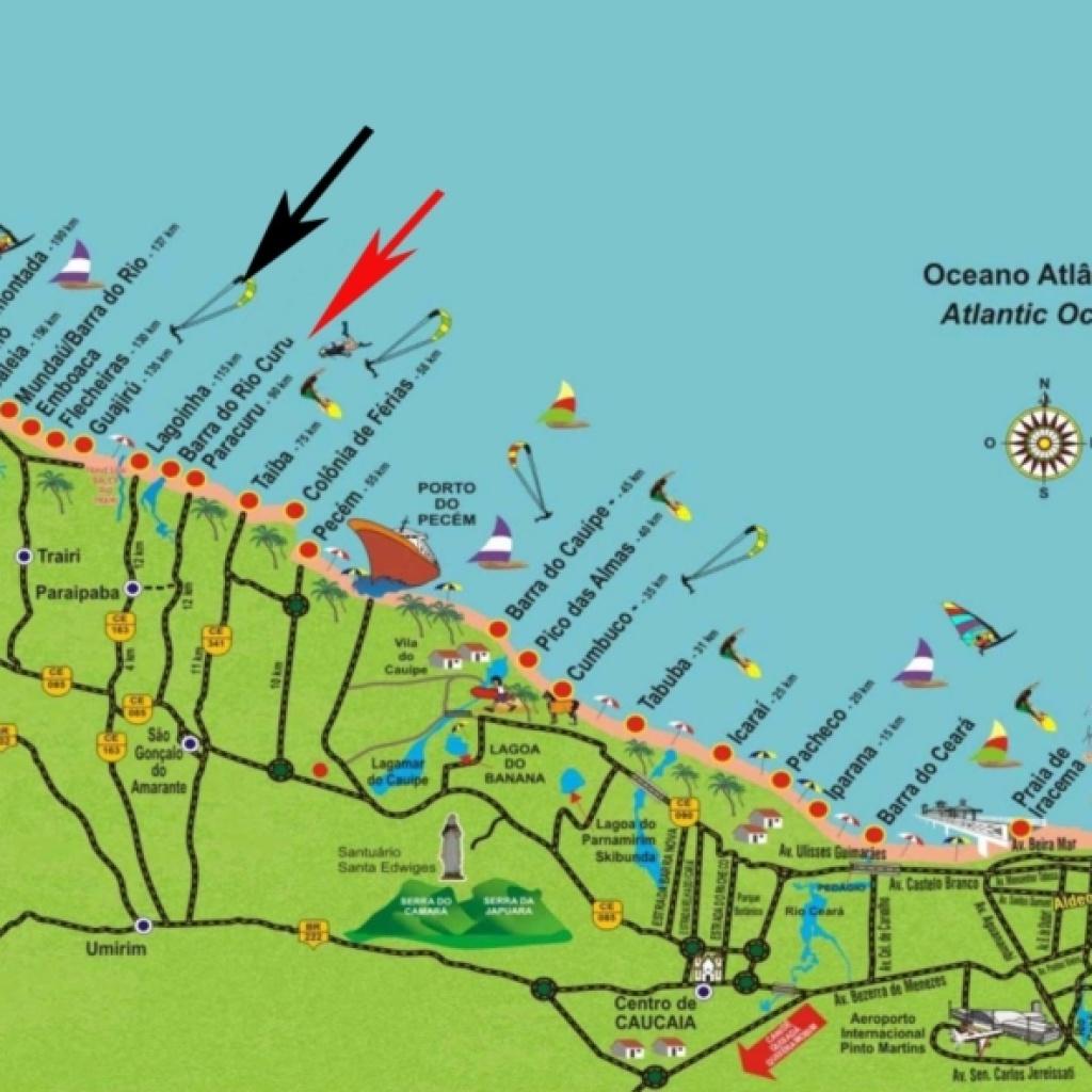 Kitesurfing Brazil Fortaleza Map